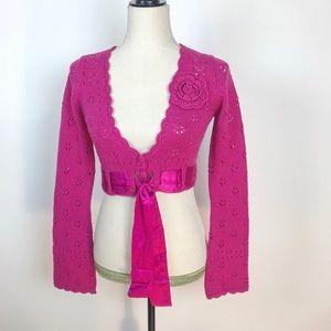 Nanette Lepore Pink Marino Wool Cropped Cardigan
